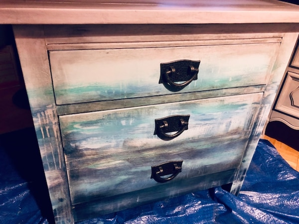 Solid wood custom painted end table to look like the sea meets the sky 8dbeddca-cabb-42da-b6aa-033e3408ab1d