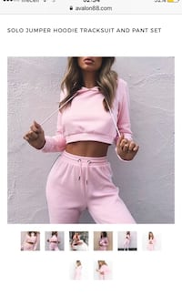 Women's size small pink track suit with cropped sweater