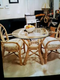 Dining table with 2 chairs.