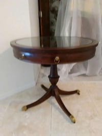 brown wooden /leather pedestal table