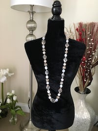 """40"""" Peach and Clear Beaded Necklace Alexandria, 22312"""