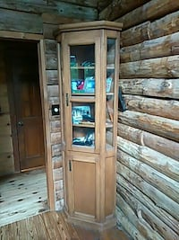 brown wooden framed display cabinet Lawrenceville, 30045