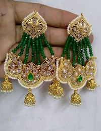 Indian Pakistani jumka earrings green 784 km