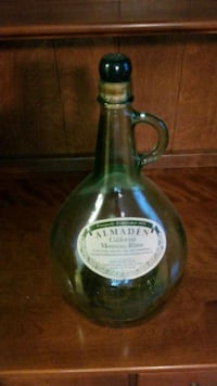 Vintage antique green wine bottle almaden
