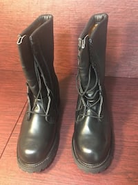 Men's Black Leather Military Combat Work Boots (Firm Price) Pick Up)