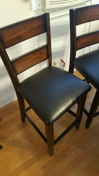 brown wooden framed black leather padded chair Chicago, 60641
