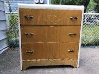 brown wooden 3-drawer chest Montreal