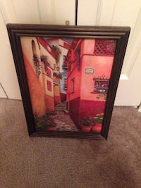 black wooden framed painting of red and white flowers