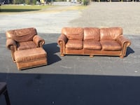Leather Couch and Chair Set Macon