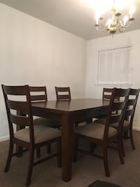 Rectangular brown wooden table with six chairs dining set Clifton, 20124