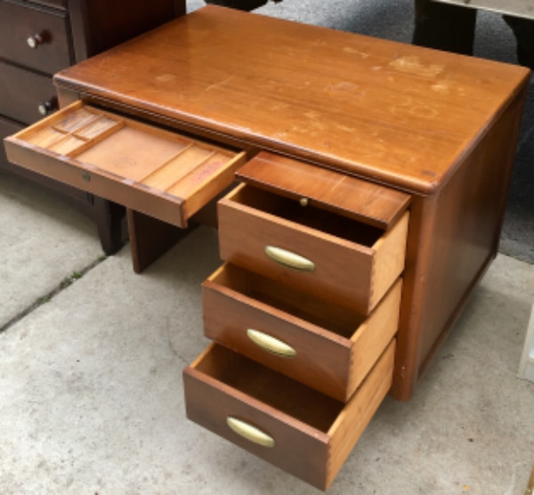 Hardwood Mid Century 4 Drawer Desk With Pull Out Tray By Central Furniture