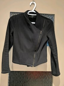 Black thick sweater jacket size small hardly worn too small for me