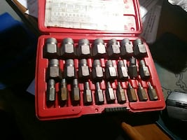 gray metal tool set with case