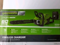 Chainsaw, 16-in Greenworks Pro cordless 60-volt, with lith ion battery Fredericksburg, 22405