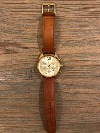 round gold-colored chronograph watch with brown leather strap Jupiter, 33478