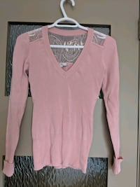 Pink v-neck sweater with lace long sleeve size s Calgary, T2E 0B4