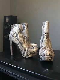 gray-and-white snakeskin platform leather booties