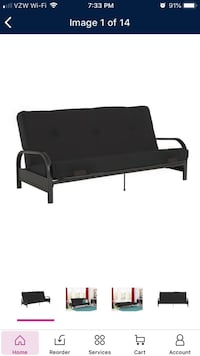 Black metal bed frame with black mattress Fountain Lake, 71901