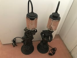 Two Victorian Lamps Man & Woman