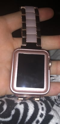 Square rose gold analog watch with link bracelet and Verizon can be used for other services $600 value