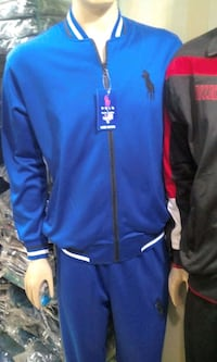 blue and red zip-up jacket