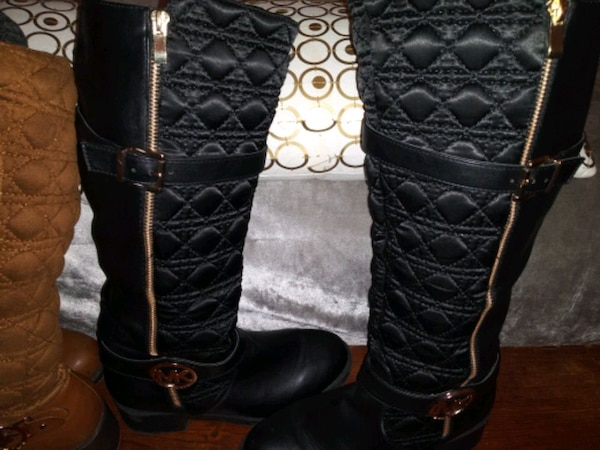 MK Boots 2 Pair Brown and Black Size 9 with Adjustable Calf Area 5b584d54-aecf-46c1-8288-5b876488ba5d