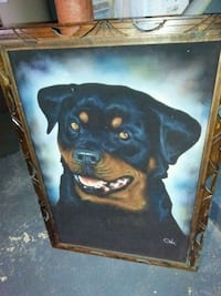 Large Rottweiler painting on canvas with wood fram Bear, 19701