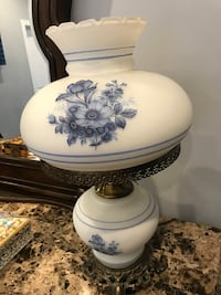 white and blue floral ceramic table lamp