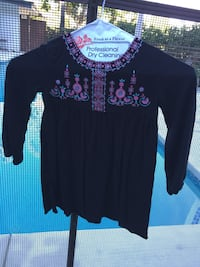 Size 2T - Black long sleeve dress with purple and pink design Los Angeles, 91403