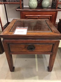 dark brown wooden framed glass to side table with storage  Vancouver