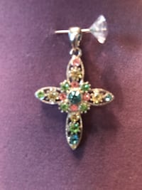 Beautiful silver Cross Pendant with crystal stones