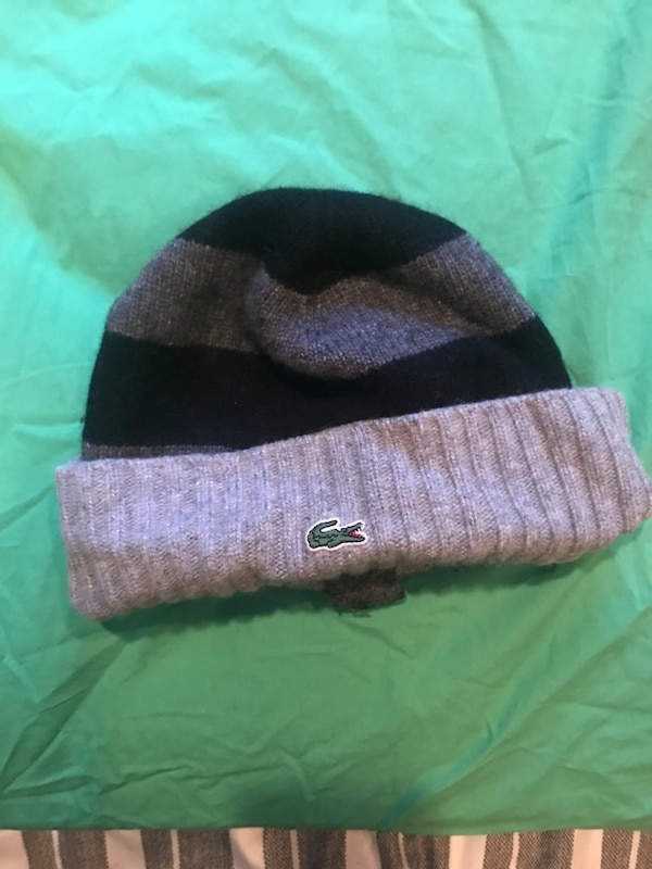 53a494cab grey and black striped Lacoste beanie hat