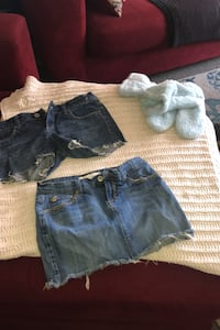 Jean shorts and jean skirt - plus free fuzzy slippers