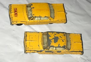 "2 Vintage 1960""s MatchBox Lesney Yellow taxi cabs"