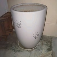 Large White Ceramic Plant Pot with base and soil Singapore