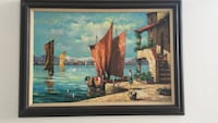brown wooden framed brown boat in sea painting