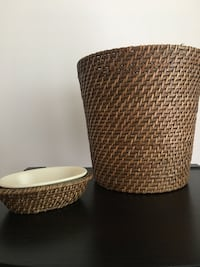 two brown wicker base white shade table lamps Alexandria, 22314