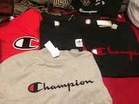 Black and red addias and champion  shirt