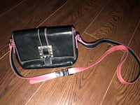 Sooner & Bourke black and pink leather sling bag