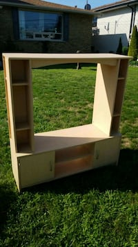 white wooden TV hutch with flat screen television Brantford, N3R 2X8