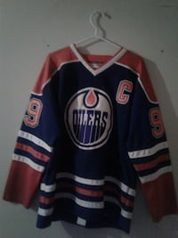 black and orange Oilers jersey
