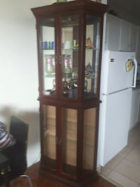 brown wooden framed clear glass display cabinet Toronto