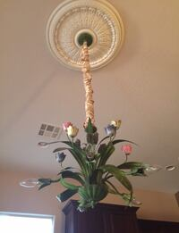 HORCHOW gorgeous floral Chandelier with silk rope   & ceiling finial.