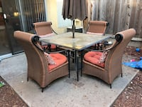 Rectangular brown wooden table with six chairs dining set Salida, 95368