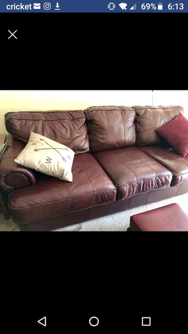 Used Leather Couch With Queen Size Pull Bed For Sale In St