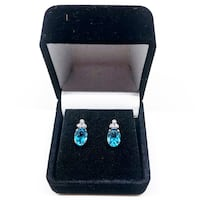 10k Yellow Gold Authentic Blue Topaz and Diamond Earrings Salisbury, 21804
