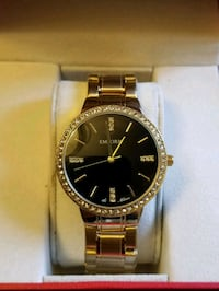round gold-colored Rolex analog watch with link bracelet Pickering, L1V 1C5