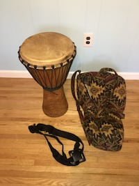 Large Handmade Djembe with Padded Bag and Remo Strap