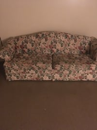 Brown and white floral fabric sofa McLean