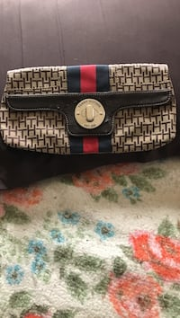 brown, black and red tommy hilfiger wallet